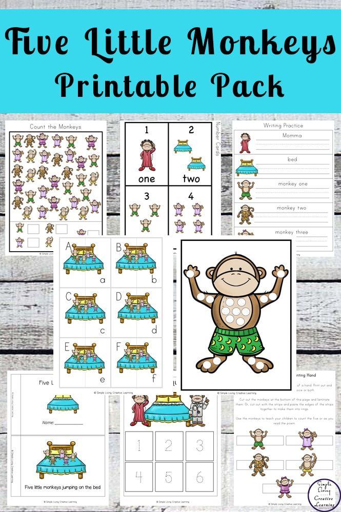 Five Little Monkeys Printable Five Little Monkeys Little Monkeys Nursery Rhymes Preschool