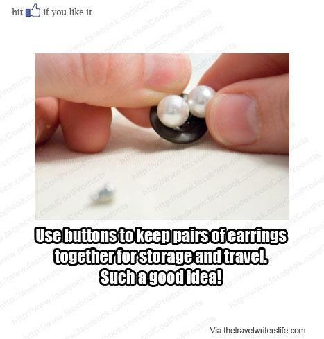 Neat earring storage.