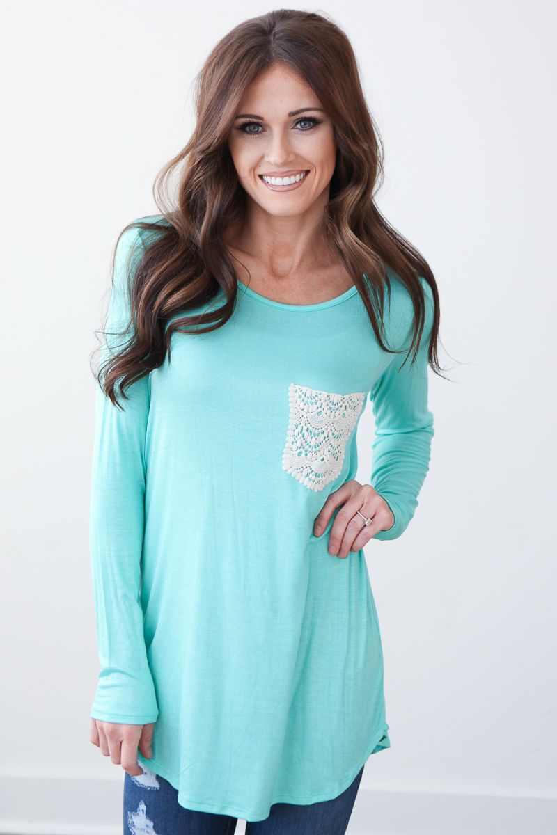 Magnolia Boutique Indianapolis - Long Sleeve Crochet Pocket Top - Mint, (http://www.indiefashionboutique.com/long-sleeve-crochet-pocket-top-mint/)