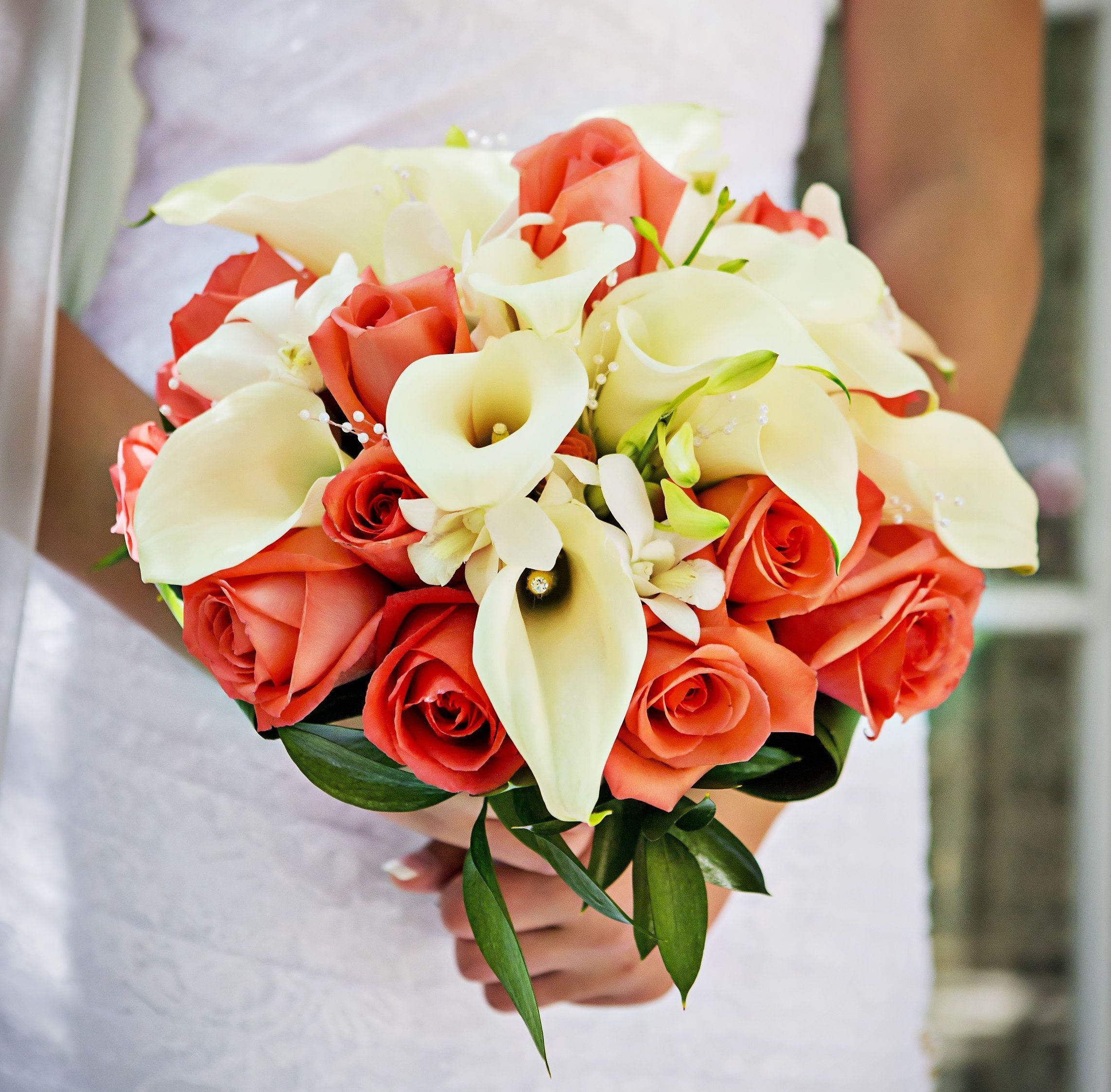Coral Roses, White Calla Lily & Orchid Bridal Bouquet