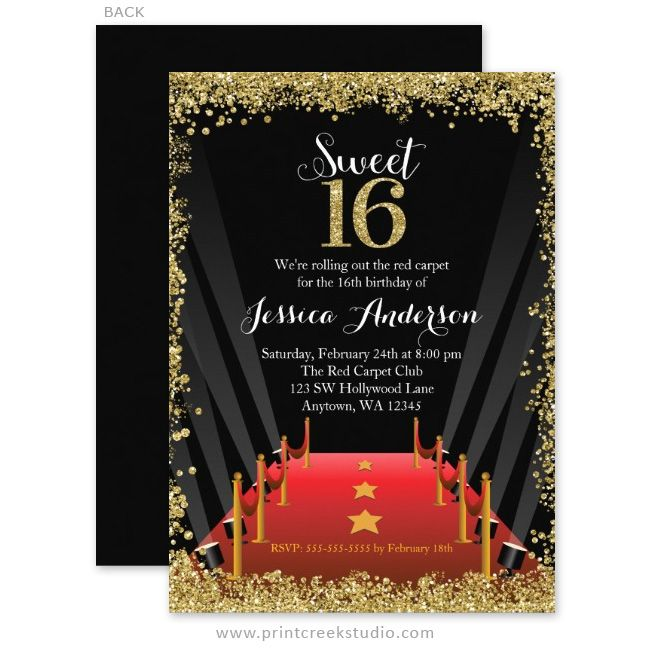 Glamorous Gold Glitter Hollywood Sweet 16 Birthday Party Invitations