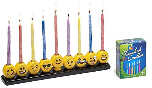 Emoji Menorah Set  1 Emoji Menorah and 1 Box of 44 Colorful Candles *** Click image for more details.Note:It is affiliate link to Amazon.