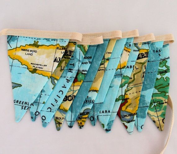 world map atlas fabric bunting pennant banner 25m or 35m with 12 or 18 flags