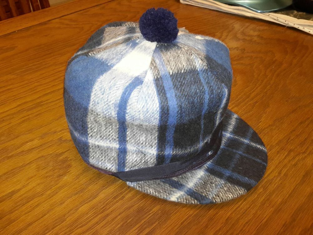 d0be4b7b7c9 Vintage Wool Mackinaw Hat Cap PLAID w Ear Flaps Pom Elmer Fudd BLUE TONES 7  7 8  fashion  clothing  shoes  accessories  mensaccessories  hats (ebay link )