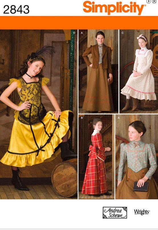 Girls Costume Pattern Victorian Era Wild West Prairie Coat Awesome Costume Patterns