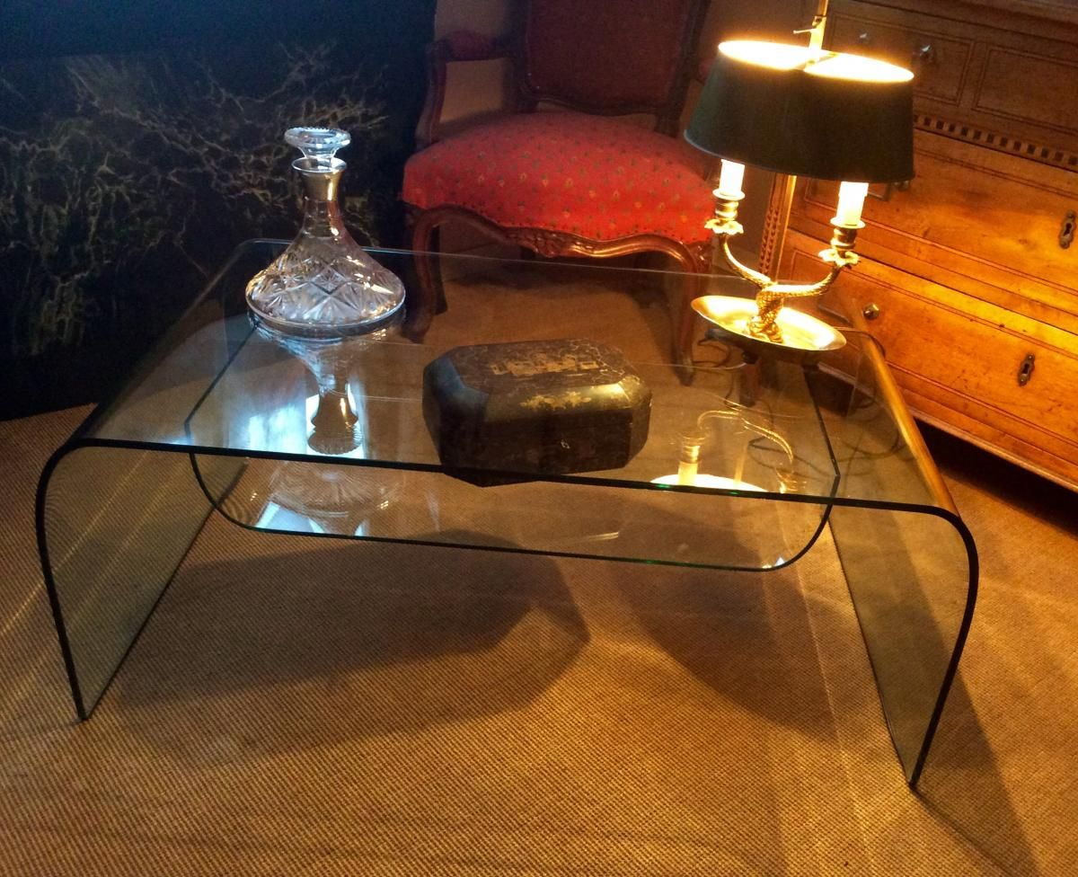 Table Basse En Verre Fume De Enzo Mari Eric Leclerc Antiquites Proantic Arredamento