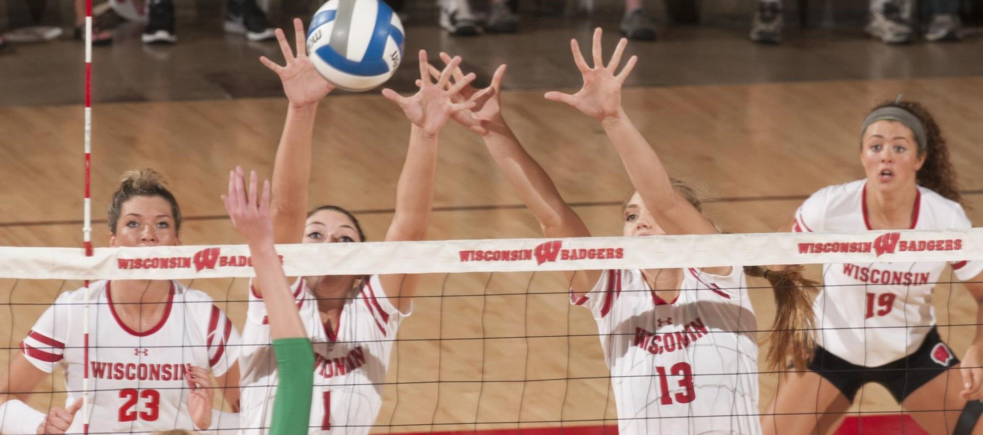 Lauren Carlini And Haleigh Nelson Go Up For A Block Volleyball News Badger Volleyball Wisconsin Badgers