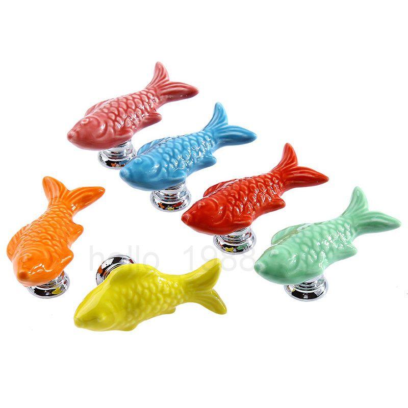Ceramic Fish Colorful Cartoon Cute Cabinet Knob Childrenu0027s Room Drawer Pull  Handle Rural Cupboard Knob