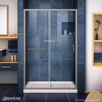 DreamLine Infinity-Z 36 in. x 48 in. Semi-Frameless Sliding Shower Door in Brushed Nickel with Center Drain Shower Base in Biscuit #framelessslidingshowerdoors