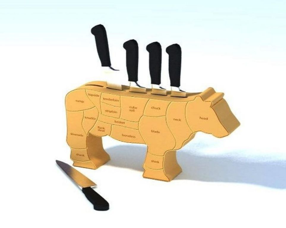 Kitchen : Astounding Unique Cow Shape Knife Holder Design Ideas Made From  Wooden Picture   A