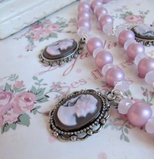 Romantic Victorian Style Pink Necklace, Cameo, Romantic Jewelry, Vintage Style | Luulla by petitedress