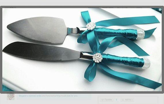 blue satin crystal rhinestone  wedding cake by Exquisitefindsbycj
