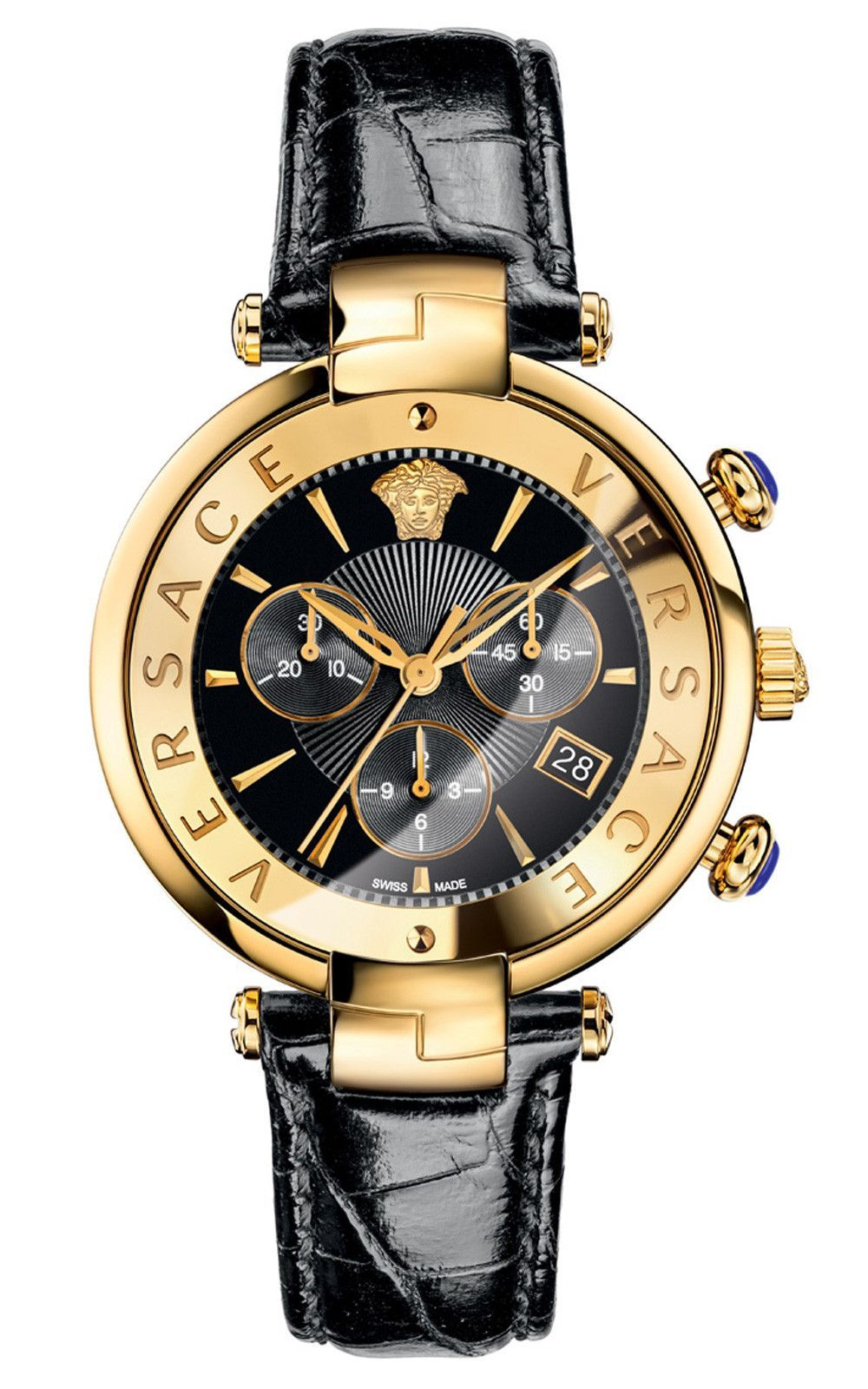 Revive Chronograph Black Leather Date Watch 41mm Versace