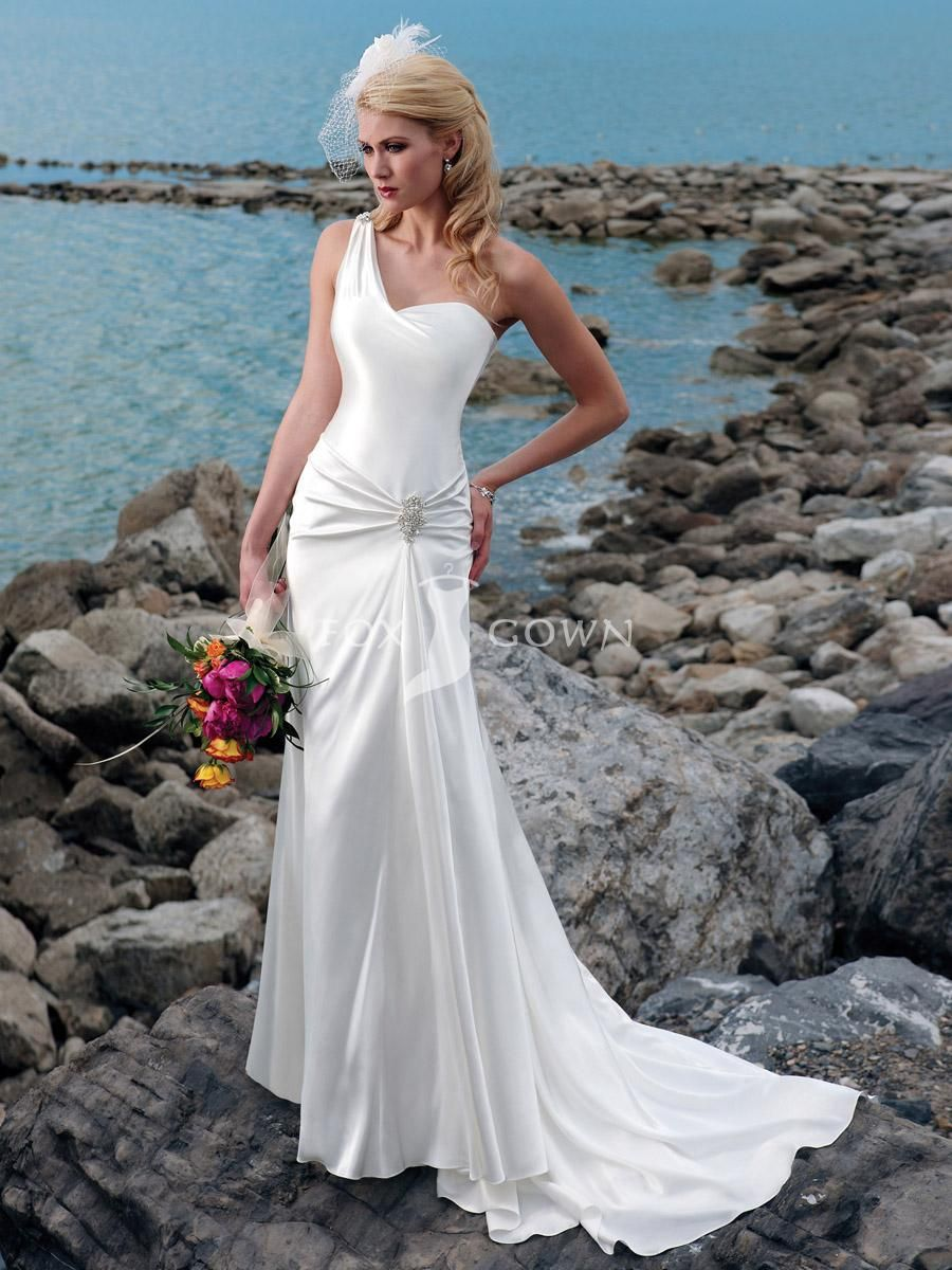 simple beach wedding dress satin with one-shoulder neckline beaded ...