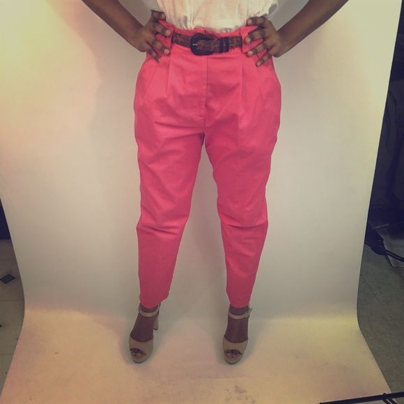 Hot Pink Pants!!!♨️ High waisted pink pants. Perfect for anyone who is ready to steal the show and be the center of attention. Slightly worn, probably once a year. Had for three years. Button is missing but that can be fixed with wearing a cute belt as shown. Please Thank You Pants Trousers