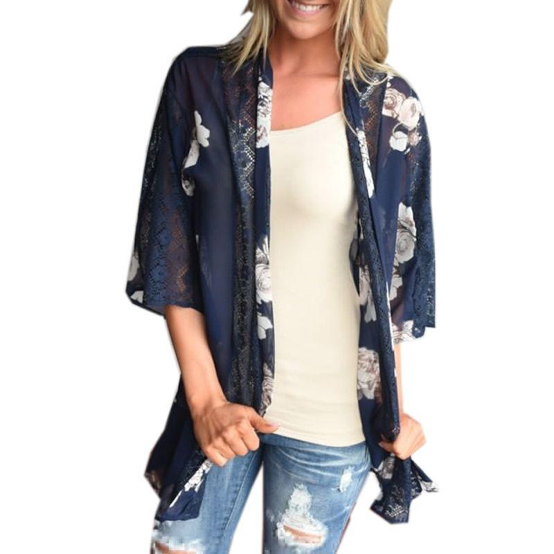 d59edca4f9 2017 Women Hollow Loose Vintage Floral Print Pront Open Lace Crochet  Chiffon Kimono Cardigan Tops Outwear Bikini Cover Up