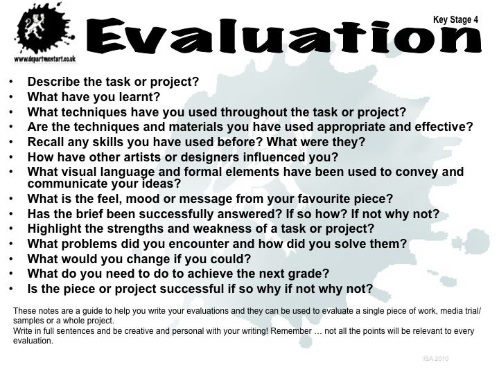 evaluation questions for use with artist statements? Grade 8 - project evaluation template