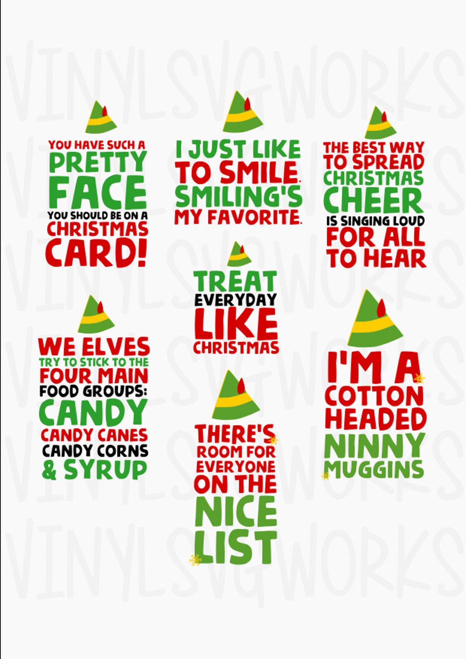 Elf Movie Quotes SVG FILE PACK Etsy in 2020 Elf movie