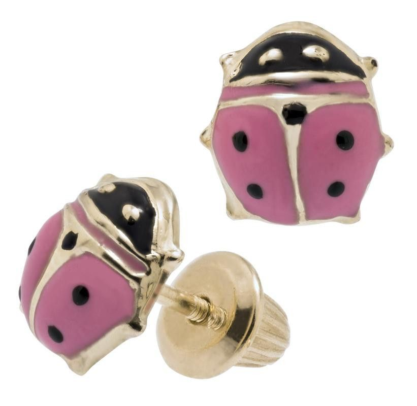 14k Yellow Gold Children S Pink Ladybug Earrings With Backs