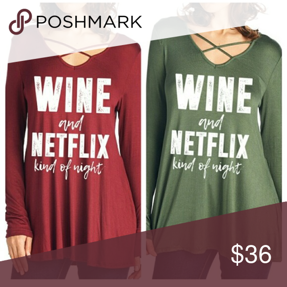 Wine & Netflix Criss Cross Tee c r i s s  c r o s s  n e c k l i n e . T u n i c  l e n g t h . S o f t  &  s t r e t c h y .  a v a i l a b l e  i n  o l i v e  & m e r l o t.  N o  t r a d e s . N o  h o l d s .  # 0 2 2 6 0 4 posh on first boutique Tops Tees - Long Sleeve
