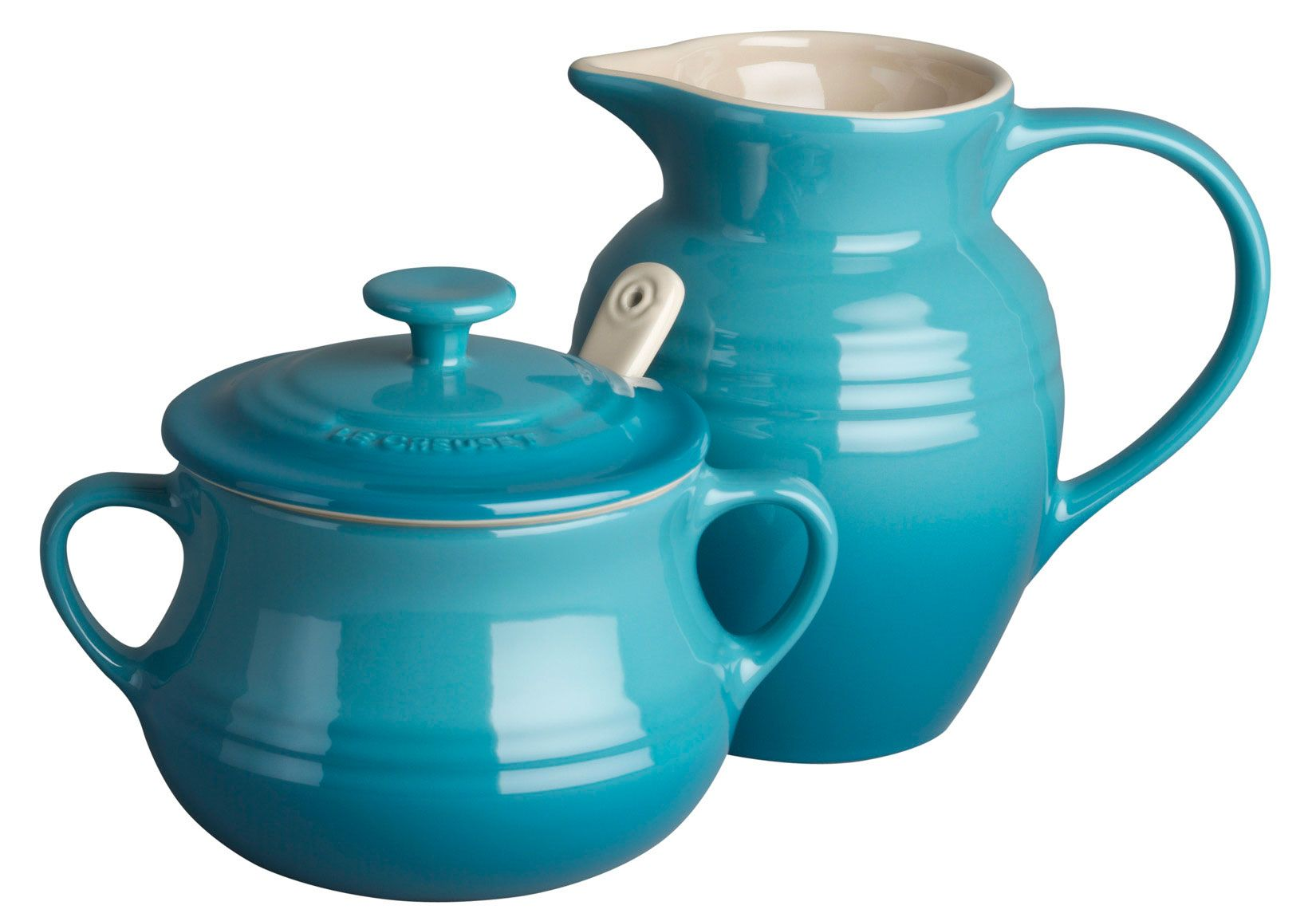 Le Creuset Stoneware Cream and Sugar Set in Teal - almost impossible ...