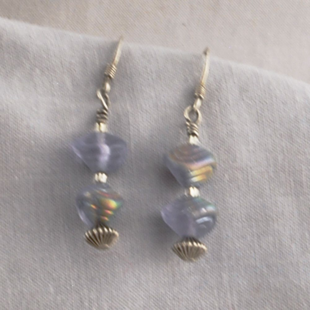 Iridescent Czech Glass Shell and Sterling Silver Earrings   SER51