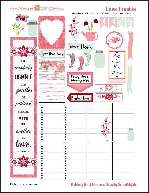 Love Printable Planner Kit in Pink & Green February