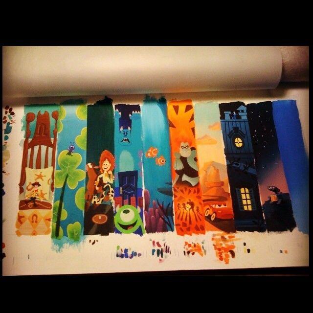 Early Pixar story line art for Collectors Editions #disneyfineart #pixar #art #pixarstoryline