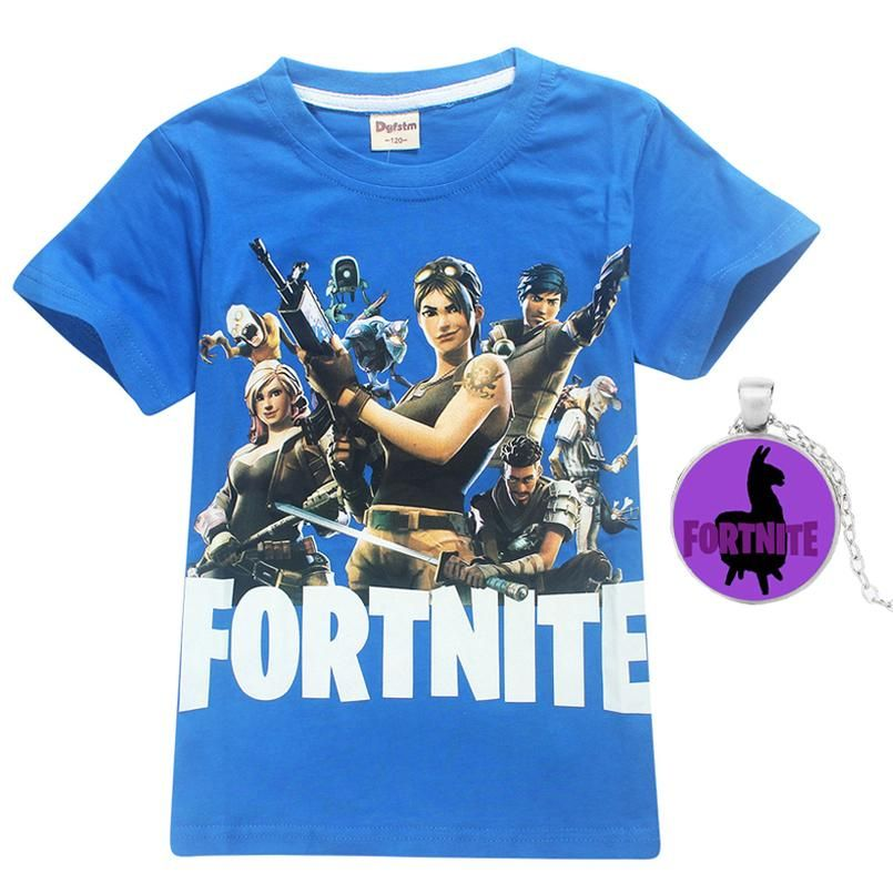 c135c972 Fortnite Kids Tee 100% Cotton Children Summer Short Sleeve T-Shirts For  Boys Girls Clothes Baby Boy T Shirt Tops with necklace
