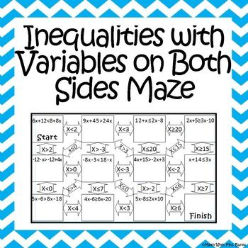 Inequalities With Variables On Both Sides Maze Worksheets