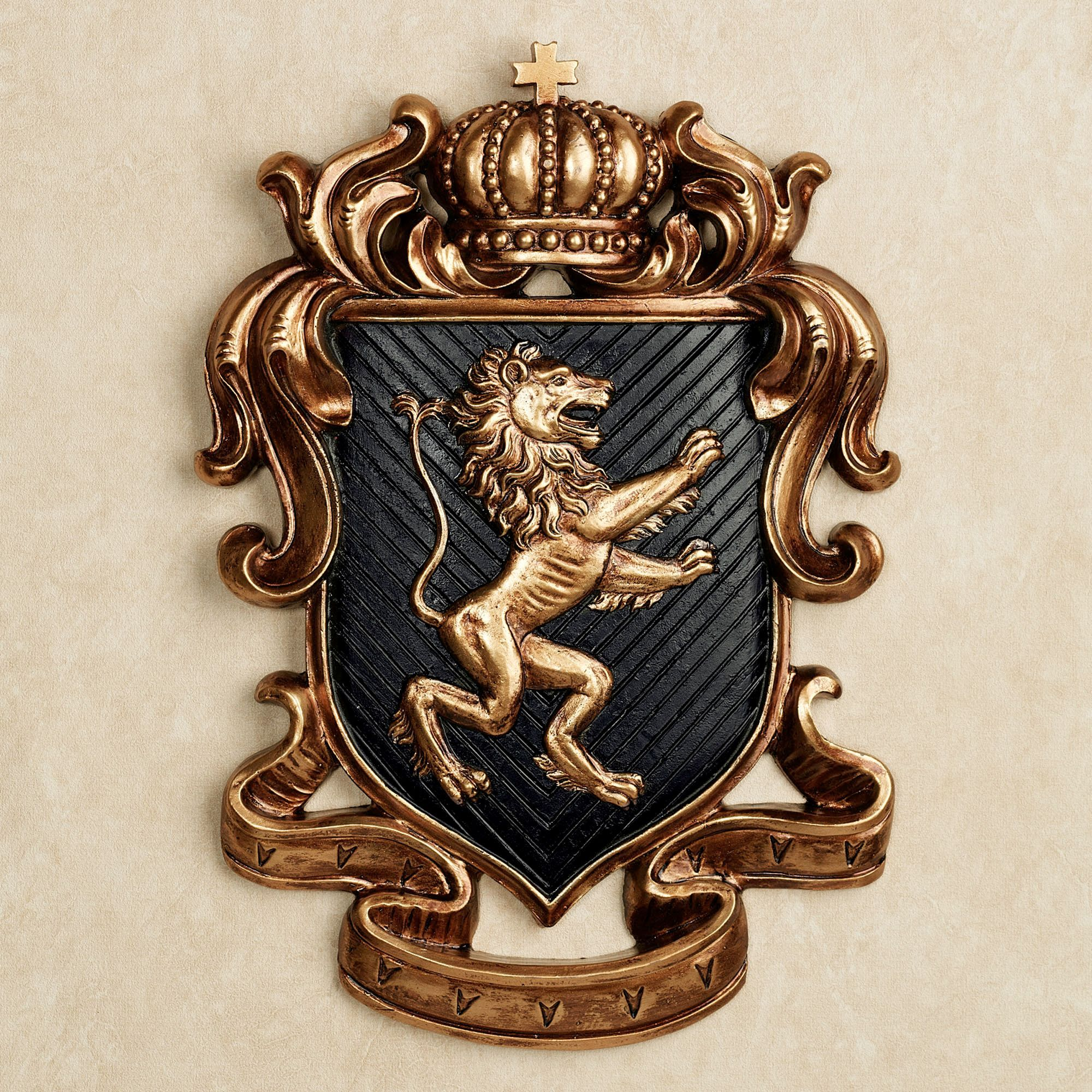 Decorative Wall Plaques lion heart coat of arms wall plaque | lions and walls