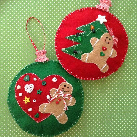 Gingerbread Felt Ornaments / Christmas Tree Ornaments / Gingerbread