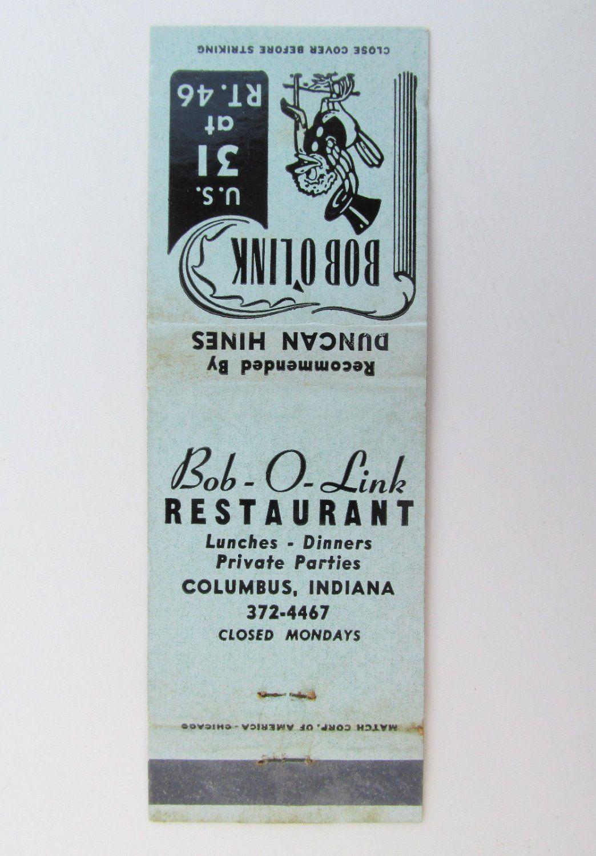Bob O Linkrestaurant Columbusindiana20strikematchbookcover