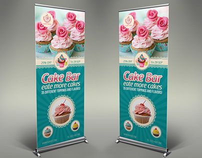 Cake Shop Banner Roll Up Signage Template Vol.4