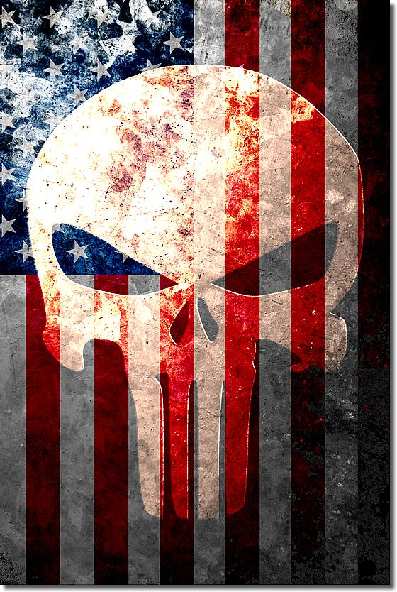 Ideal Distressed American Flag & Punisher Skull Vertical Print  KR37