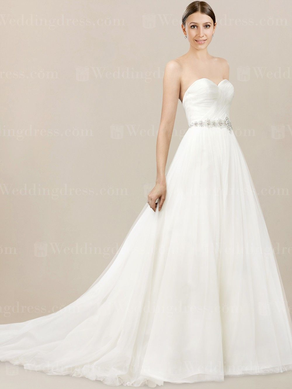 Tulle Strapless Wedding Dress Features Pleated Bodice And An Intricate Detail Of Bead Patterns On The Natural Waistline Aline Skirt Allows: Pleated Bodice Strapless Wedding Dress At Reisefeber.org