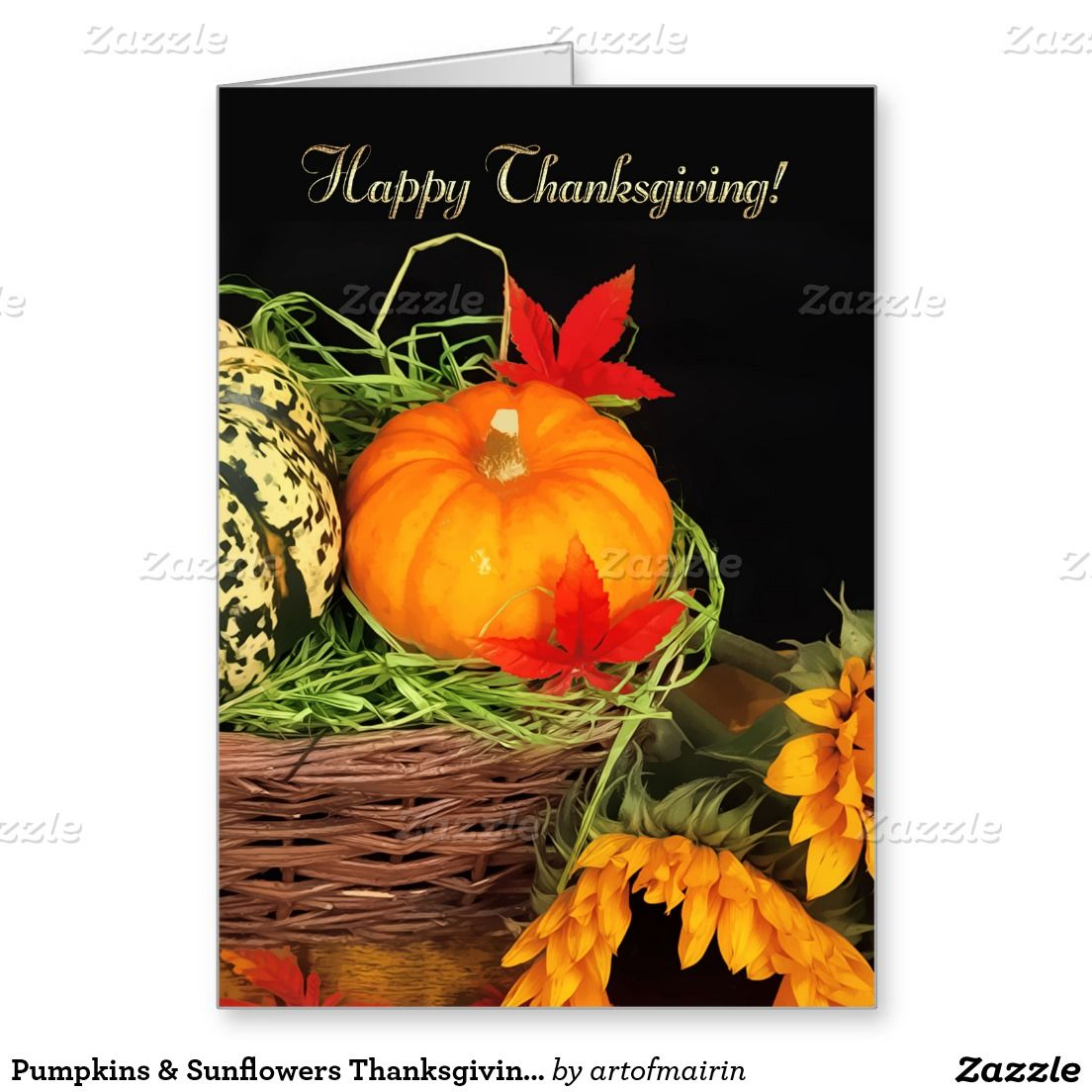 Pumpkins Sunflowers Thanksgiving Greeting Cards Thanksgiving