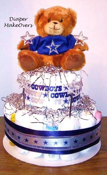 Dallas Cowboys Diaper Cake Great Centerpiece or baby shower gift for any Dallas Cowboys Fans!