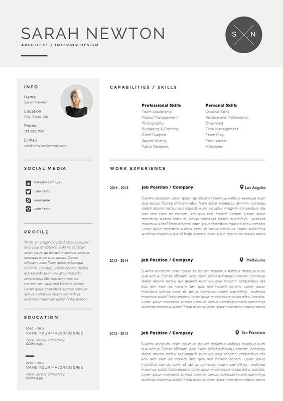 Resume template and cover letter for by theresumeboutique also rh pinterest