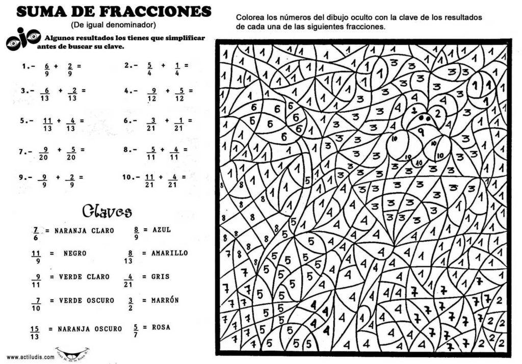 Ejercicios De Fracciones Para Colorear Juegos Cokitos Fracciones Ejercicios De Fracciones Suma De Fracciones