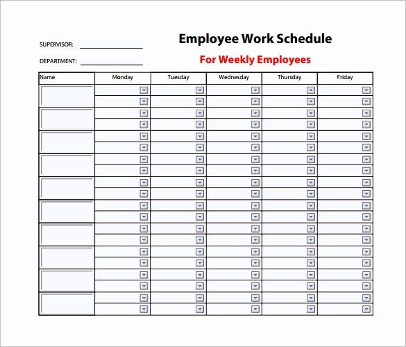 Monthly Employee Schedule Template Elegant 9 Weekly Work