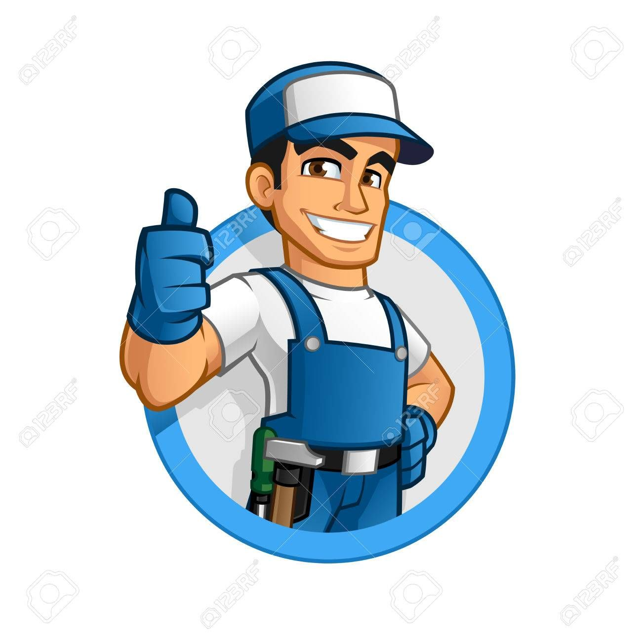 Handyman wearing work clothes and a belt, with tool ,