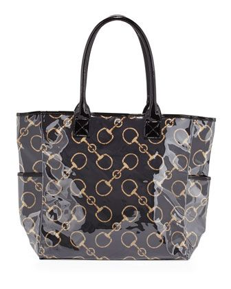 Derby Equestrian Print Vinyl Shopper Black Tan Handbags