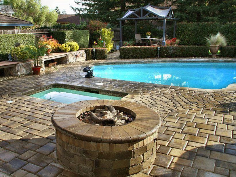 Matching Multi Color Pavers For This Fire Pit Pool Patio