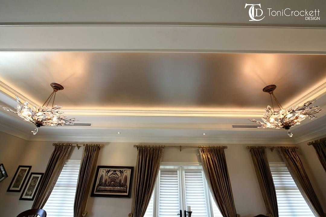 Champagne Metallic Paint On Inset Ceiling Interior By Toni Crockett Design Painted Ceiling Silver Metallic Paint Modern Masters
