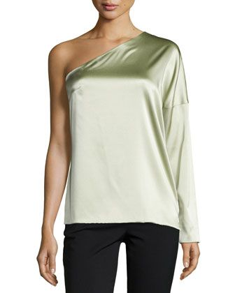 One-Sleeve Charmeuse Top, Celadon by Kaufman Franco at Neiman Marcus.