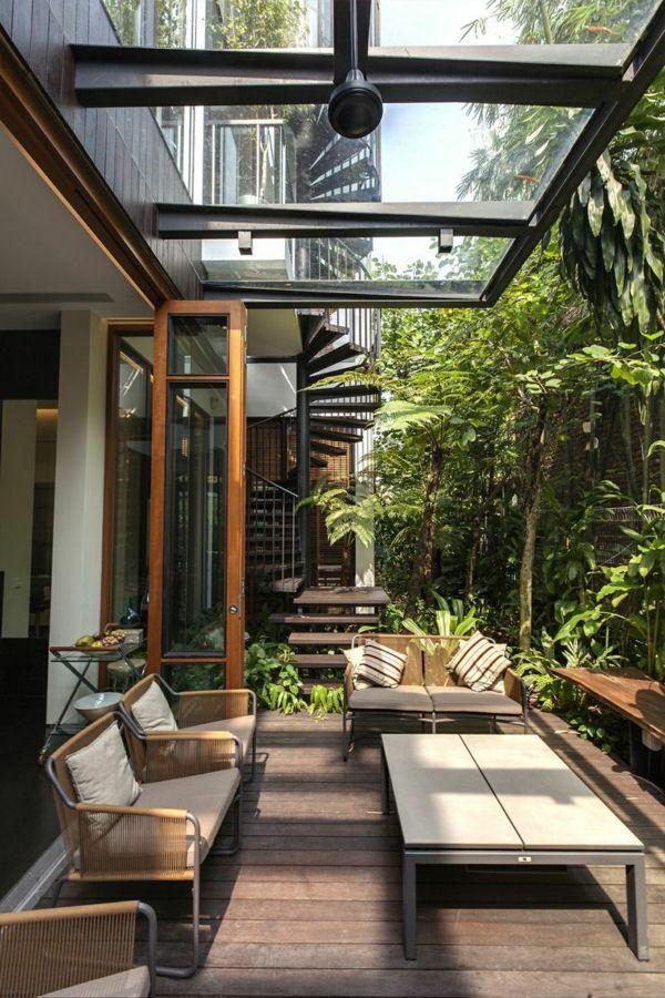 Terrasse Glas Dach Außenmöbel | Balkonmöbel ? Terrassenmöbel ... 28 Ideen Fur Terrassengestaltung Dach