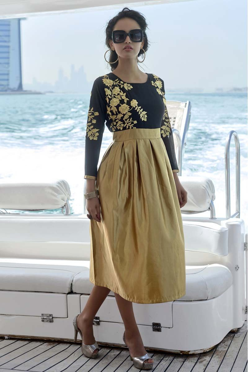Black faux georgette designer long kurti designer kurtis