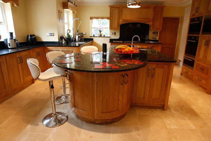 Kitchen Island Breakfast Bar Curved Curved Bespoke Oak