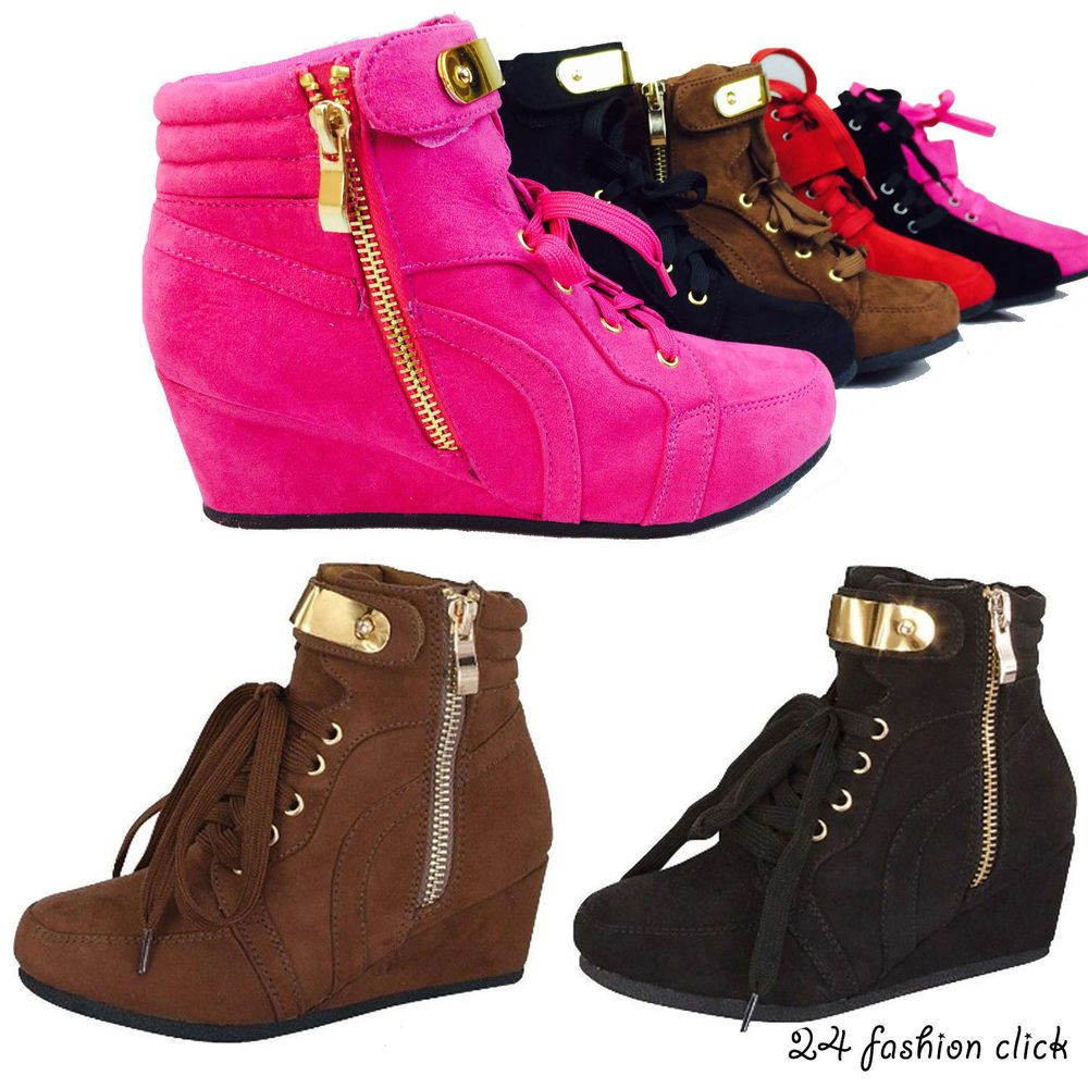908a3fb25be Kids Youth Girls Toddler Wedge Sneaker High Top Shoes Black Fuchsia ...